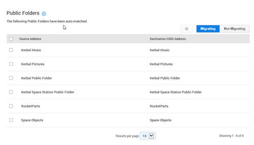 SkyKick also matches public folders to Office 365 accounts.
