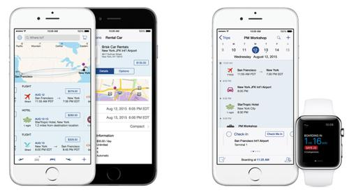 IBM and Apple are working together on building mobile enterprise apps, including one called Travel Track. This app, announced in July, lets business travelers review trip itineraries on their iPhone and Apple Watch.