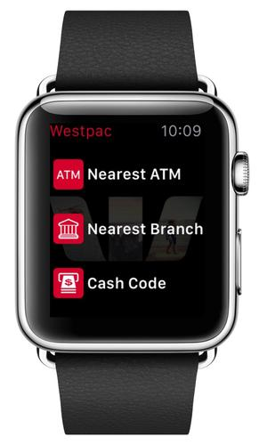 Westpac's Apple Watch app with ATM locator and Get Cash.