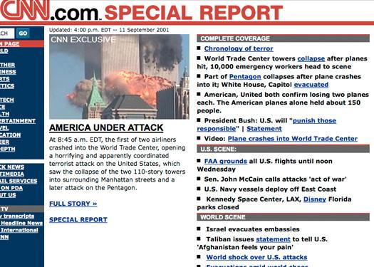 What online news looked like on 9/11 - Slideshow - Computerworld