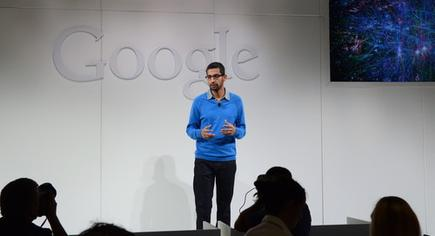 Google Android and Chrome head Sundar Pichai speaks to reporters Wednesday about the company's new Nexus 7 and Chromecast devices.