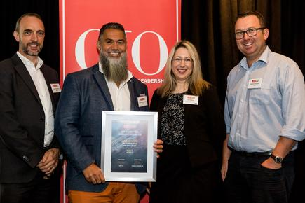 Aaron Toatelegese (second from left)  of Bank of New Zealand is number three in the CIO100. He is joined by his team members: John Baddiley, head of technology strategy; Katarina Kolich, head of enterprise data and information services; and Gerard Graham, chief operating officer technology.