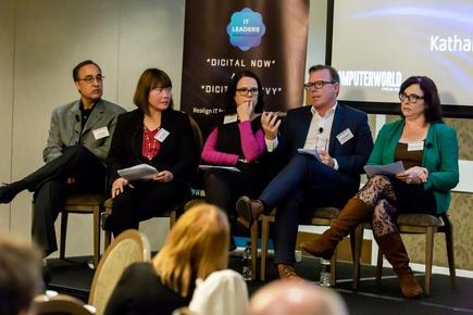 At the CIO and Computerworld 'digital now and digital savvy' forum in Auckland: Raj Sabhlok of Zoho, Liz Maguire of ANZ Bank, Jason Delamore of Auckland Airport and Katherine Walker-Mead of Watercare  Services.