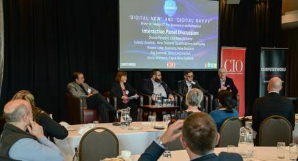 At the CIO and Computerworld 'digital now and digital savvy' forum in Welllington: Lukasz Zawilski of NZQA, Wayne Loke of Stats NZ, Vince Warnock of Cigna and Raj Sabhlok of Zoho.