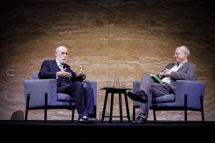 Vint Cerf in conversation with UNSW AI Professor Toby Walsh. Credit: Ken Leanfore