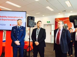 Vodafone NZ CEO Russell Stanners, Police Commissioner Mike Bush and Stephen Crombie, Executive Director; Information, Technology and Systems at New Zealand Police at the opening of the Mobility Innovation Lab in Wellington.
