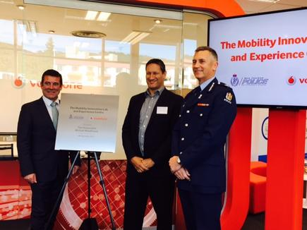Police Minister Michael Woodhouse, Vodafone CEO Russell Stanners and Police Commissioner Mike Bush at the opening of the Mobility Innovation Lab and Experience Centre in Wellington.