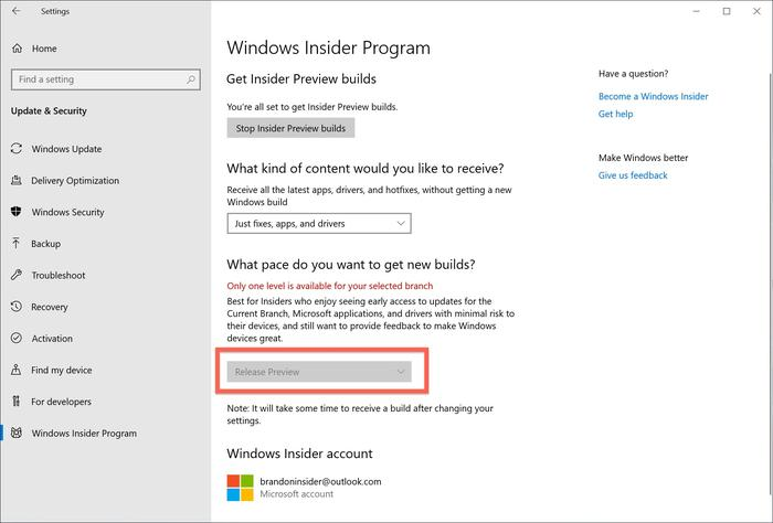 Users who want to start testing Windows 10 1909 need to register with the Windows Insider program and then choose 'Release Preview' before requesting an update