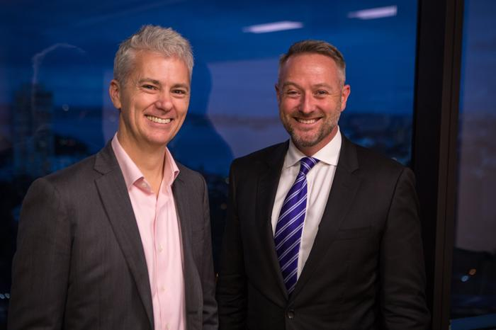 NBN CCO — business Paul Tyler and Macquarie Telecom group executive Lule Clifton