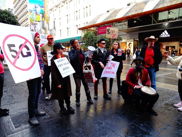 Protesters in Melbourne. Photo: Electrosensitivity Australia