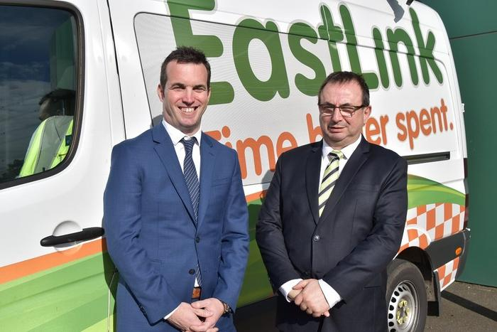 SICE Australia managing director Manuel Gonzalez Arrojo and EastLink general manager information technology Bill Advic