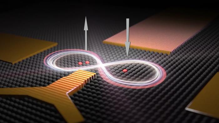 An artist's impression of two qubits - one made of two phosphorus atoms and one made of a single phosphorus atom - placed 16 nanometres apart in a silicon chip. UNSW scientists were able to control the interactions between the two qubits so the quantum spins of their electrons became correlated. When the spin of one electron is pointing up, the other points down.