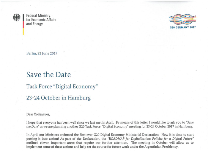 PDF decoy invitation to a G20 Digital Economy Taskforce meeting