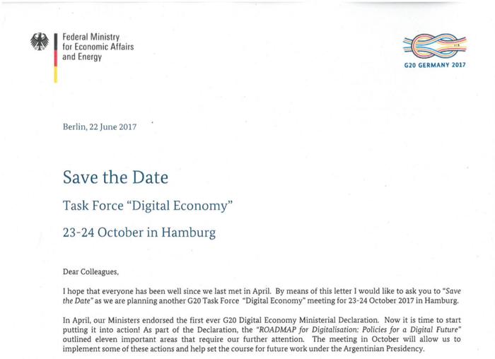 PDF decoy invitation to a G20 Digital Economy Taskforce meeting
