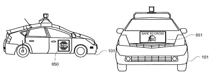 Illustrations from Google's 'pedestrian notifications' patent