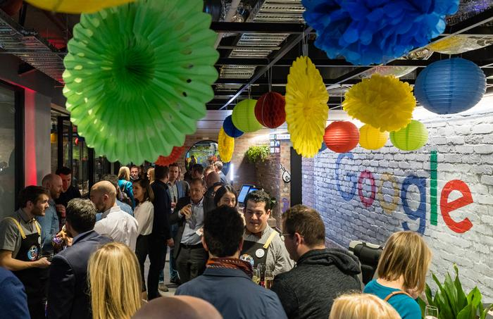 Googlers and guests celebrate the opening of the new Melbourne office