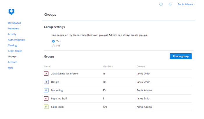 Groups in Dropbox for Business. Credit: Dropbox