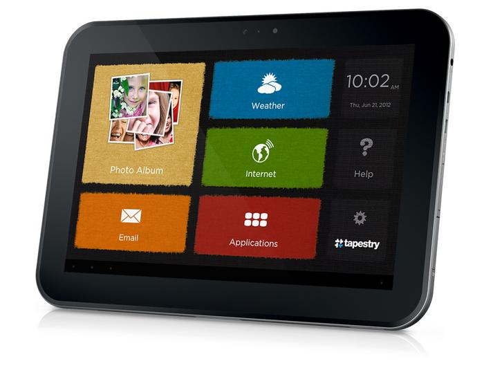 The Tapestry app displays Facebook photos and more on a tablet.