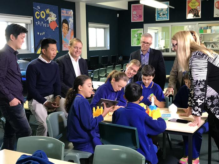 North Sydney Demonstration School students show off their 3D-printed creations to GE and Makers Empire chiefs