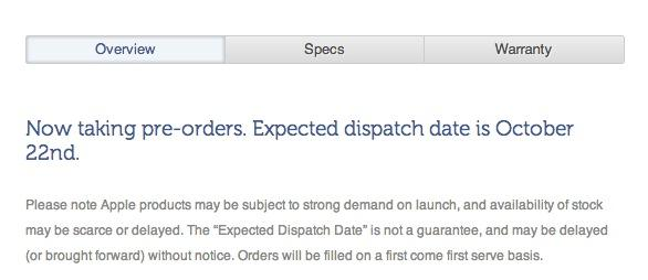 "A screenshot from the Kogan Web site, detailing the ""expected"" dispatch date of 22 October."