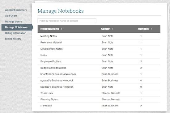 IT heads can manage notebooks, users and other settings in the admin console. Credit: Evernote