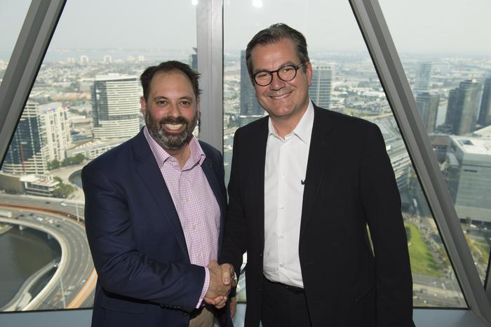 Minister for Small Business, Innovation and Trade Philip Dalidakis with vice chairman of OVH Laurent Allard