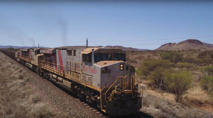 One of Rio Tinto's autonomous locomotives