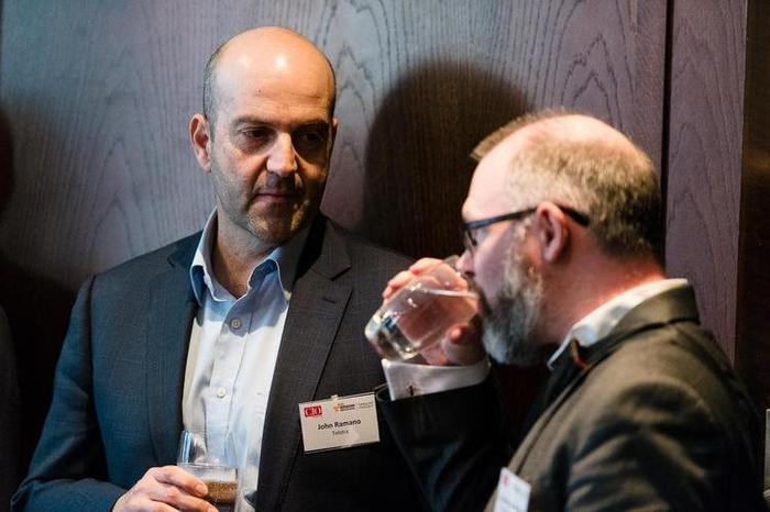 Former Telstra CIO John Romano (left)