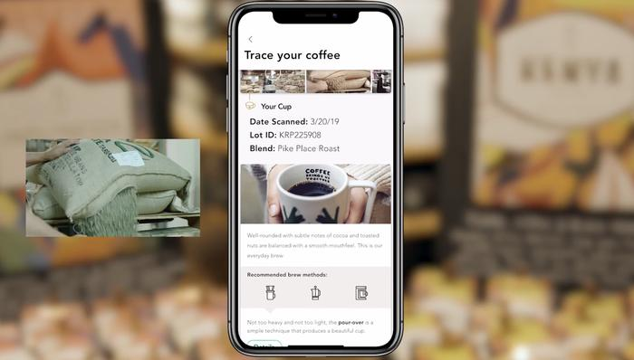 "Starbucks' and Microsoft are creating a mobile ""bean to cup"" tracking app that may look like this and enable customers to see where their coffee was grown and the journey it took to their cup"