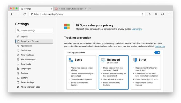 Edge's tracking prevention feature has had its UI fleshed out and is turned on by default, part of Microsoft's effort to make its Chromium-based browser stand out from Chrome