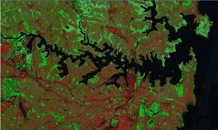 In this view, machine learning has identified rooftops (in red) and vegetation (in green)